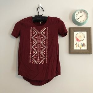 Kohl's Embroidered Maroon 100% Rayon Shirt